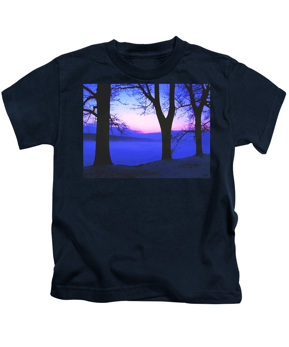 Dawn Kids T-Shirt featuring the painting The Hush At First Light by Sophia Schmierer