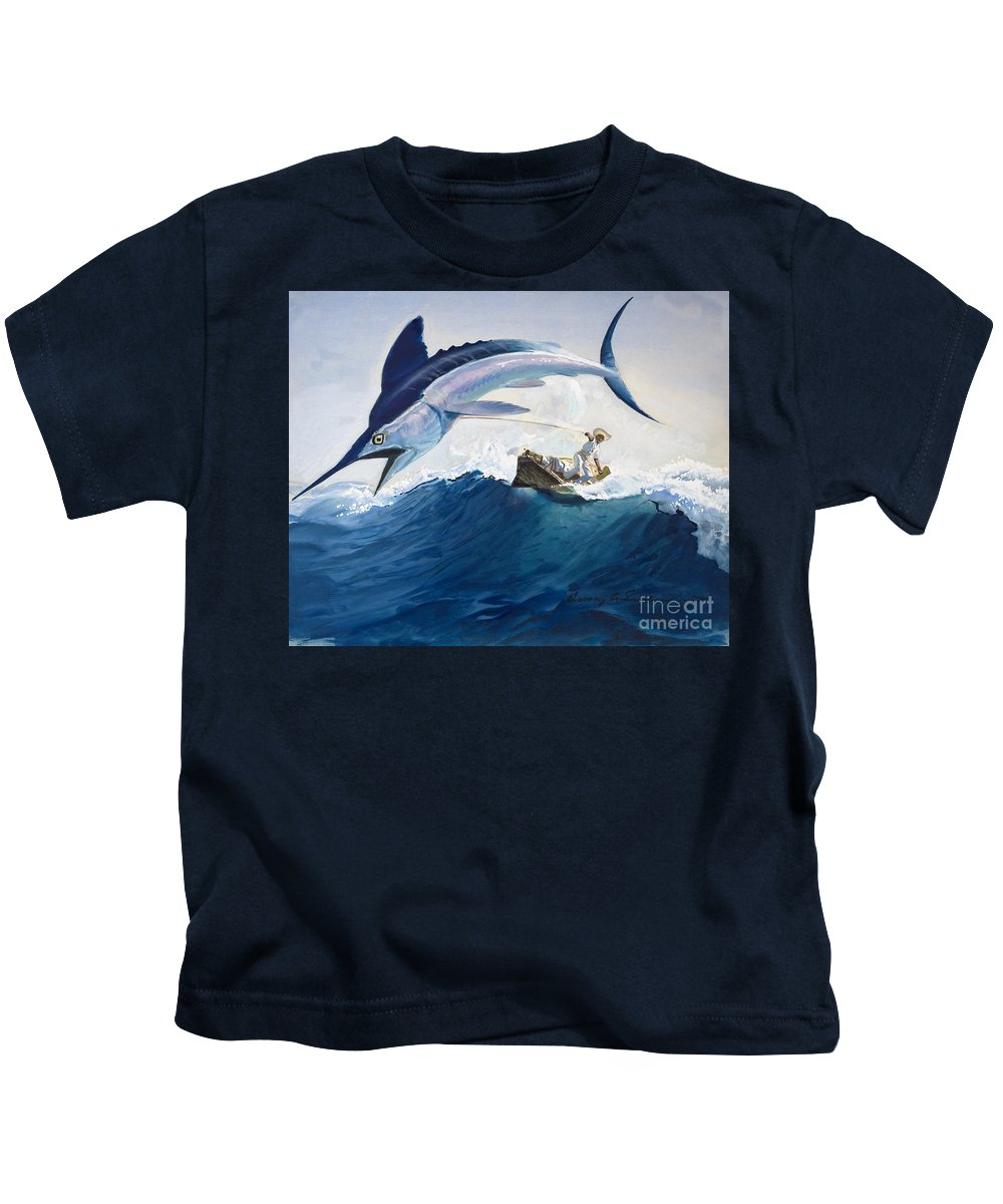 The Kids T-Shirt featuring the painting The Old Man And The Sea by Harry G Seabright