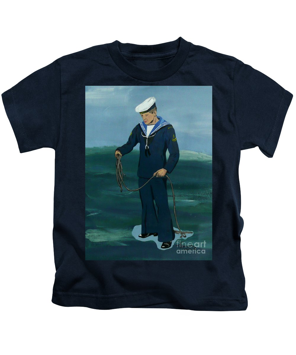 Sailor Kids T-Shirt featuring the painting The Sailor by Anthony Dunphy