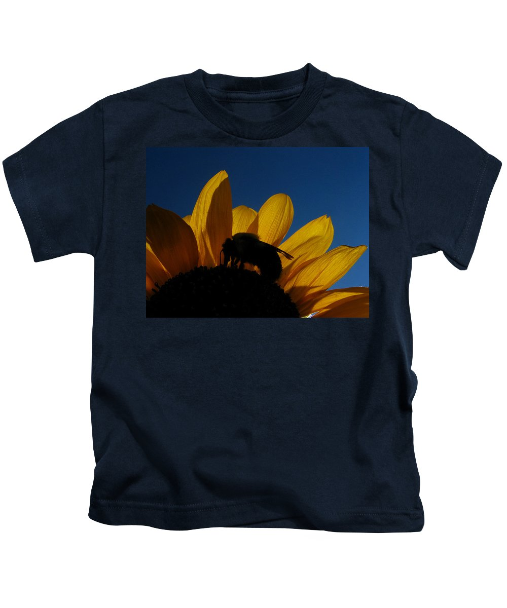 Sunflower Kids T-Shirt featuring the photograph The Sunflower And The Bee by Dan McCafferty