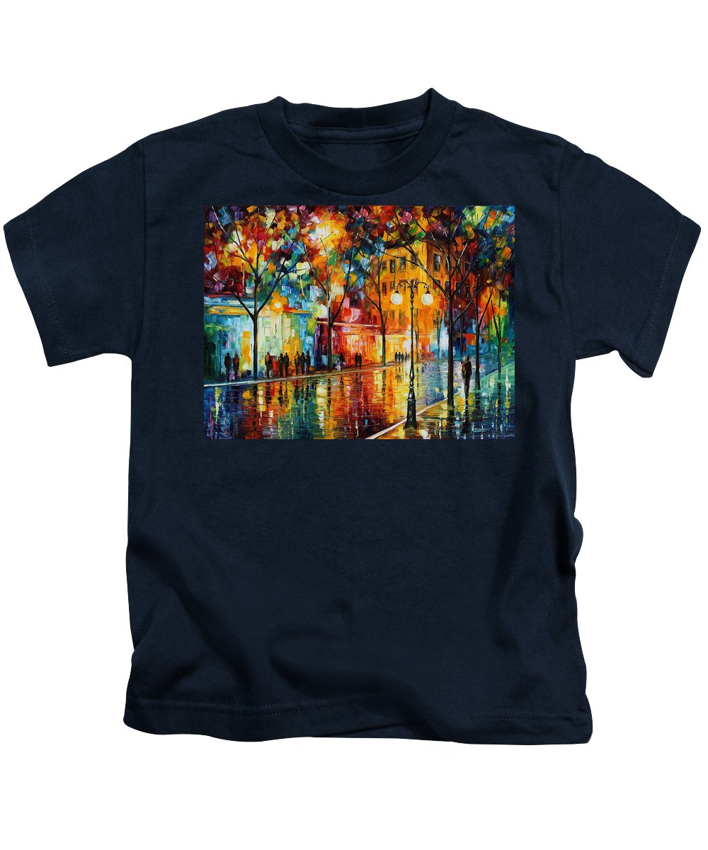 Leonid Afremov Kids T-Shirt featuring the painting The Tears Of The Fall - Palette Knife Oil Painting On Canvas By Leonid Afremov by Leonid Afremov