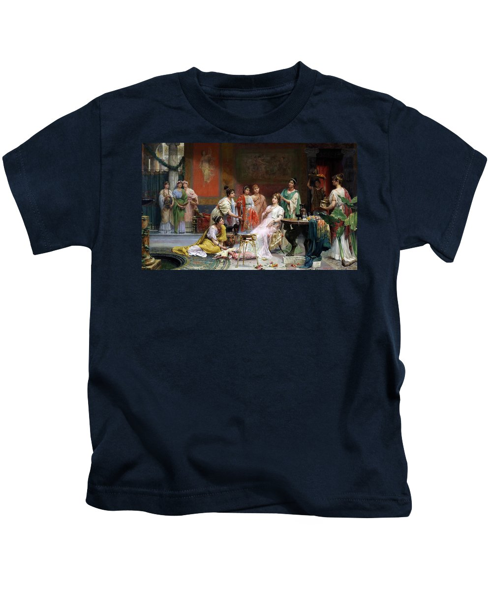 Juan Jimenez Y Martin Kids T-Shirt featuring the painting The Toilet Of A Roman Lady by Juan Jimenez y Martin