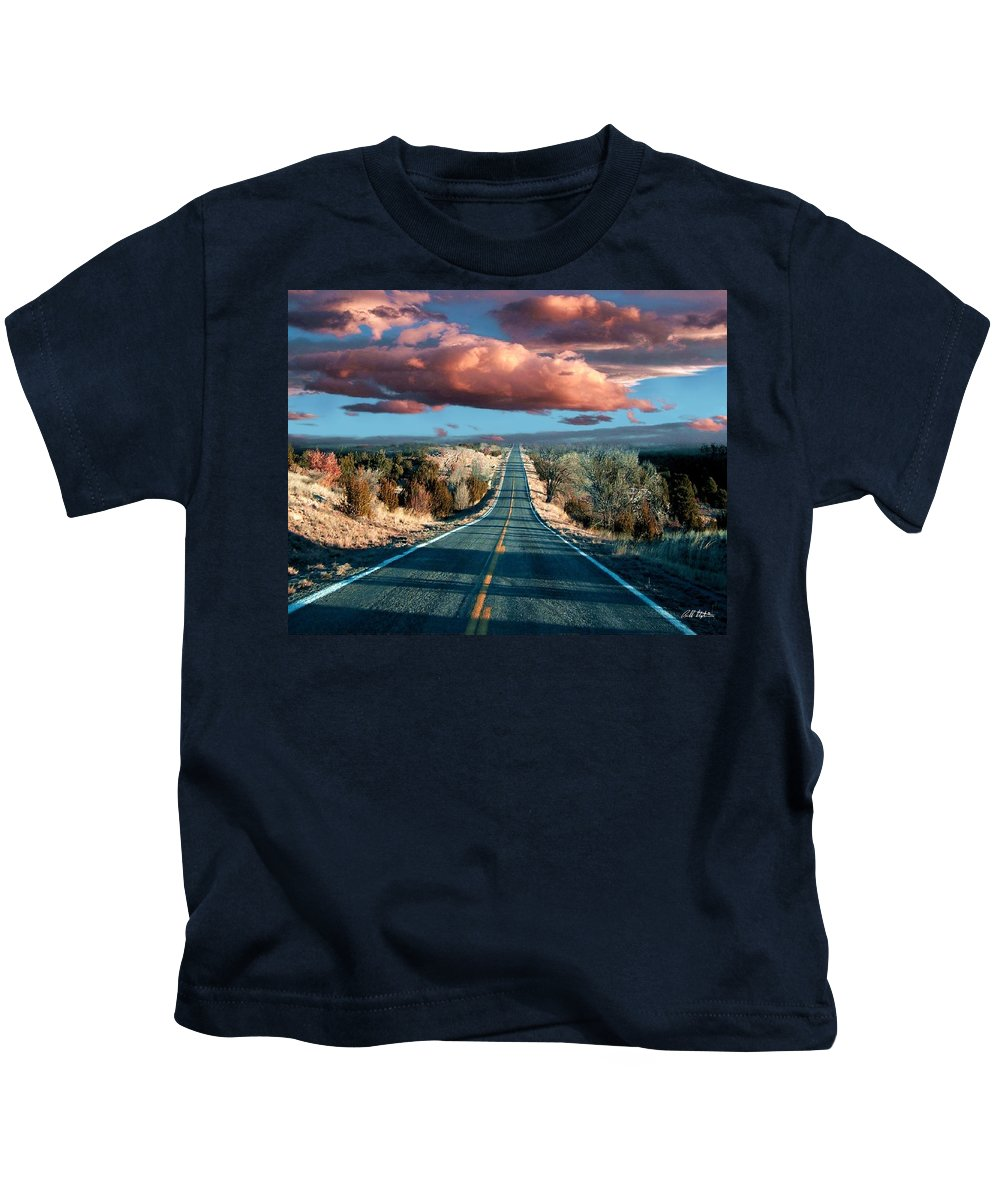 Roads Kids T-Shirt featuring the mixed media The Trip by Bill Stephens