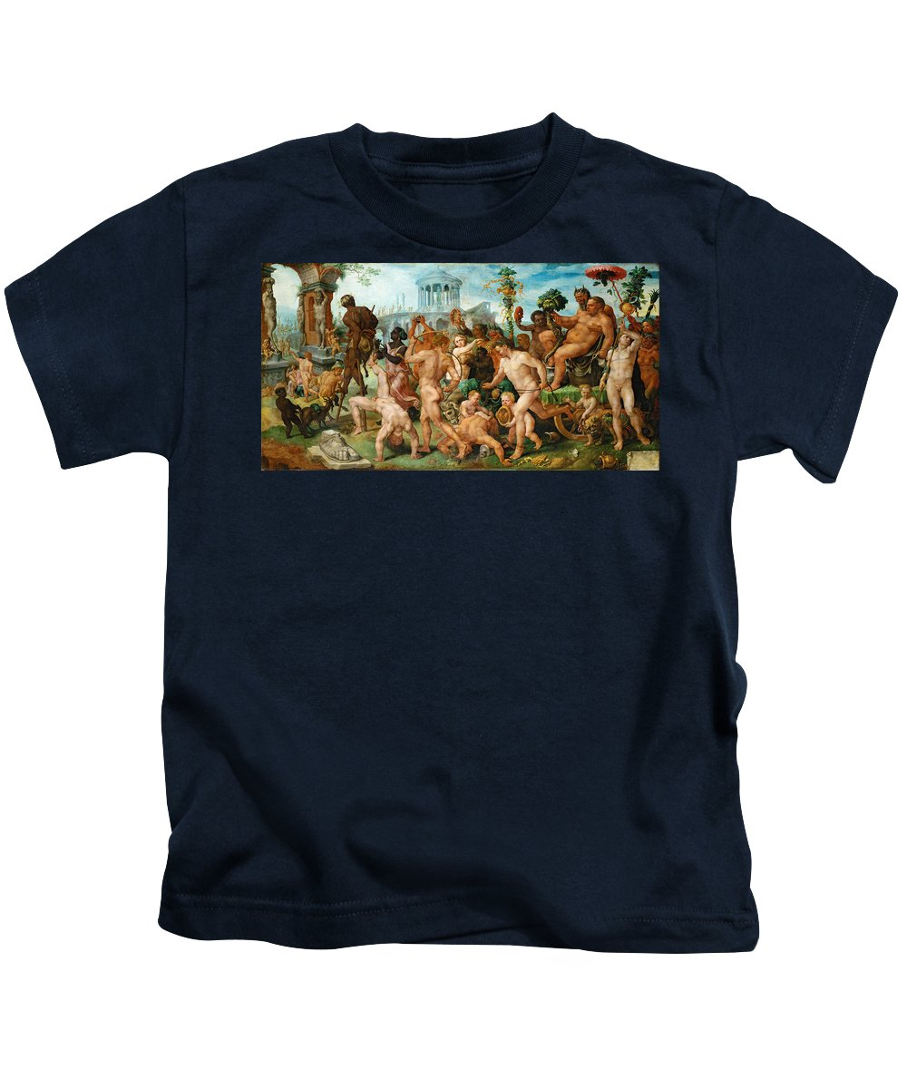 Maerten Van Heemskerck Kids T-Shirt featuring the painting The Triumphal Procession Of Bacchus by Maerten van Heemskerck