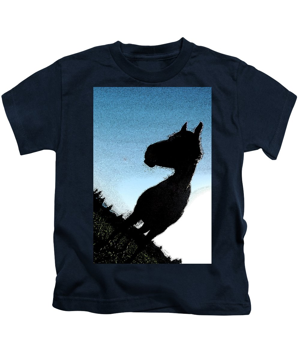 Horse Kids T-Shirt featuring the photograph The Visiter by Kathy Sampson
