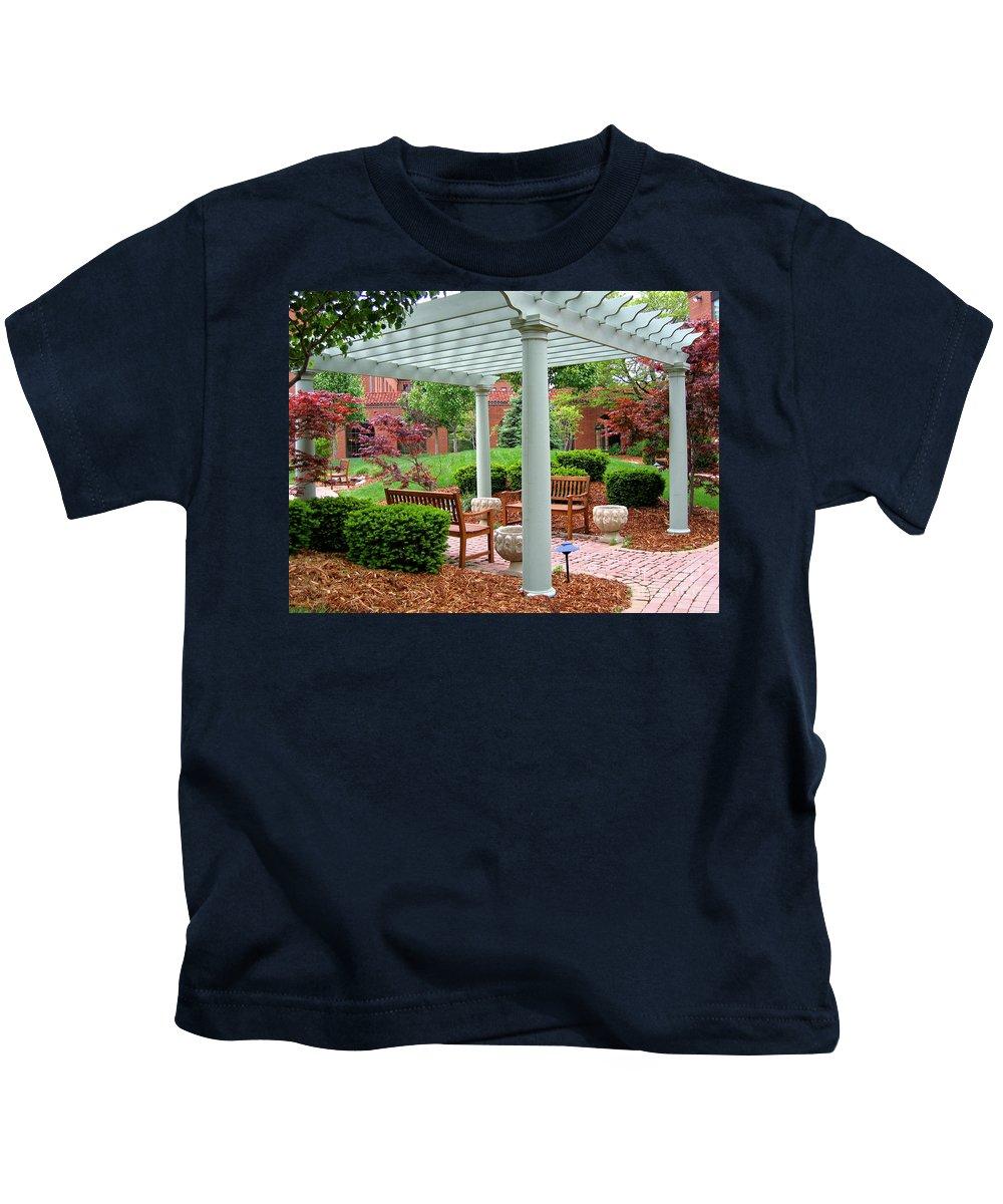 Courtyard Kids T-Shirt featuring the photograph Tranquil Courtyard by Ann Horn