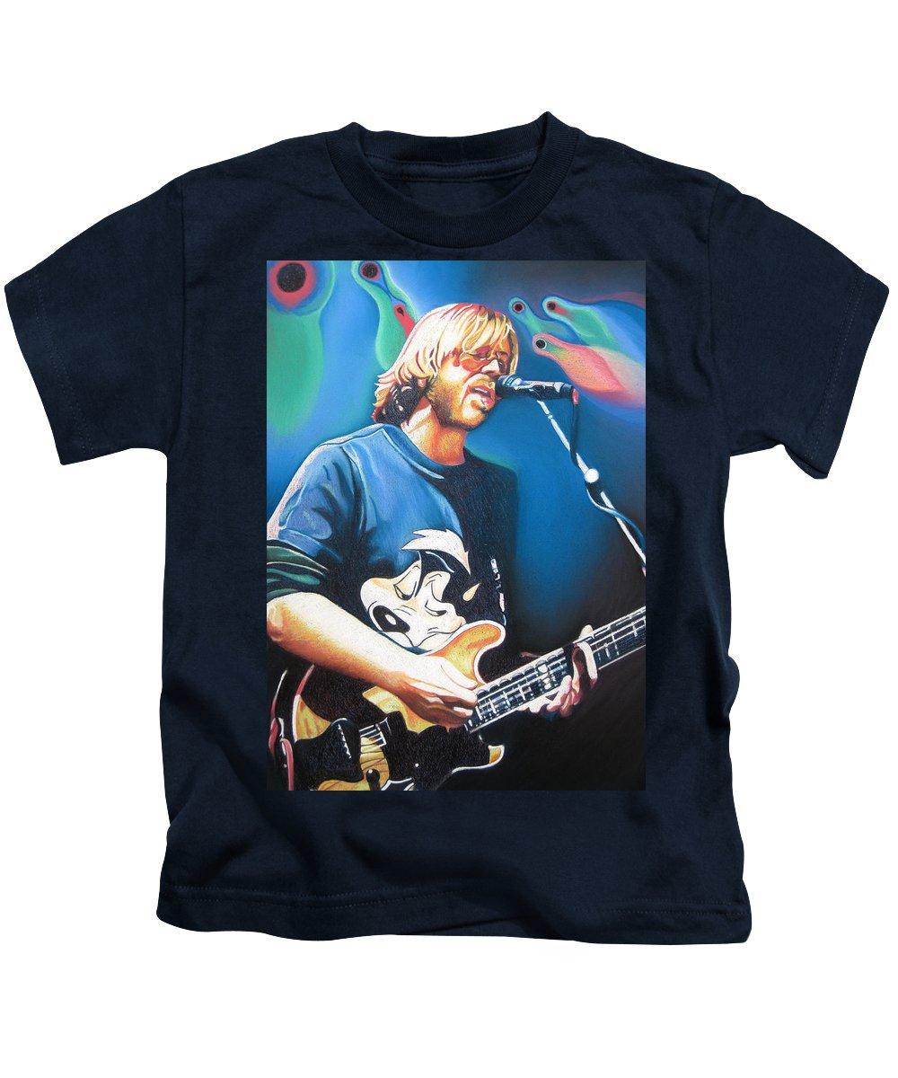 Phish Kids T-Shirt featuring the drawing Trey Anastasio And Lights by Joshua Morton