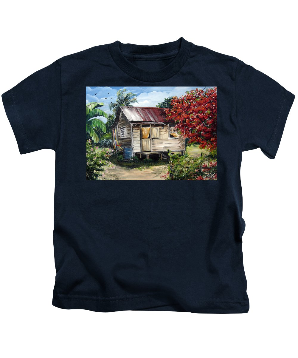 Landscape Paintings Tropical Paintings Trinidad House Paintings House Paintings Country Painting Trinidad Old Wood House Paintings Flamboyant Tree Paintings Caribbean Paintings Greeting Card Paintings Canvas Print Paintings Poster Art Paintings Kids T-Shirt featuring the painting Country Life by Karin Dawn Kelshall- Best