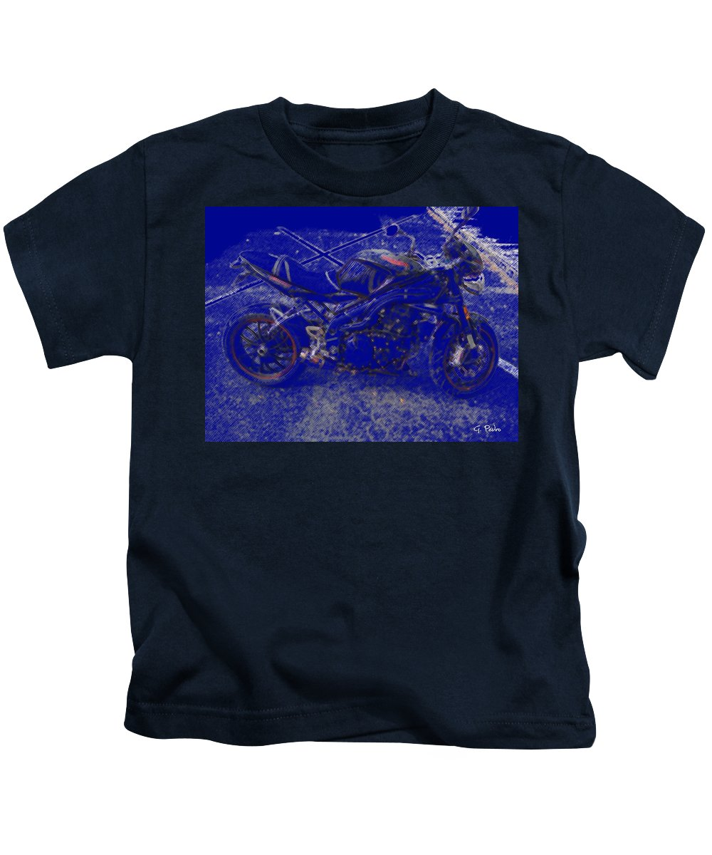 Triumph Kids T-Shirt featuring the painting Triumph In Blue by George Pedro