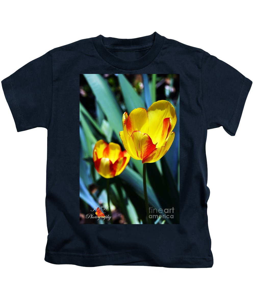 Yellow Kids T-Shirt featuring the photograph Tulip Sun Burst by Jannice Walker
