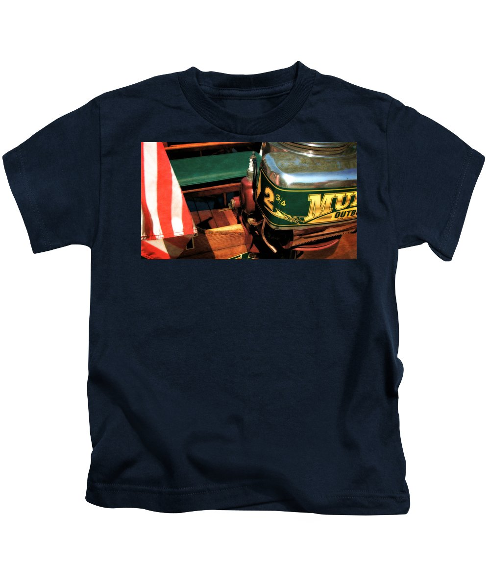 Muncie Gear Company Kids T-Shirt featuring the photograph Two And Three Quarters Hp Muncie Outboard Motor by Michelle Calkins