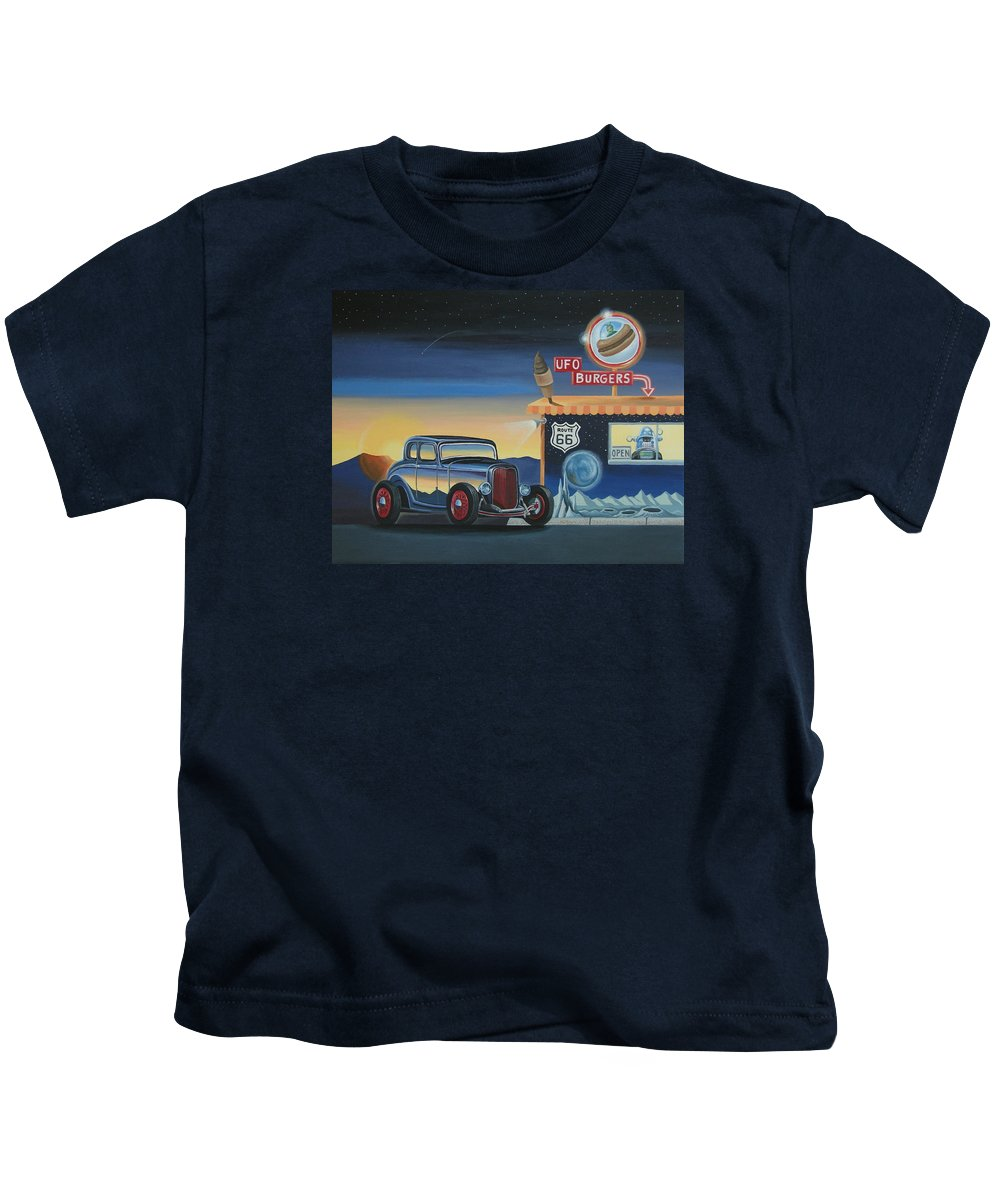 Hot Rod Kids T-Shirt featuring the painting U.f.o. Burgers by Stuart Swartz