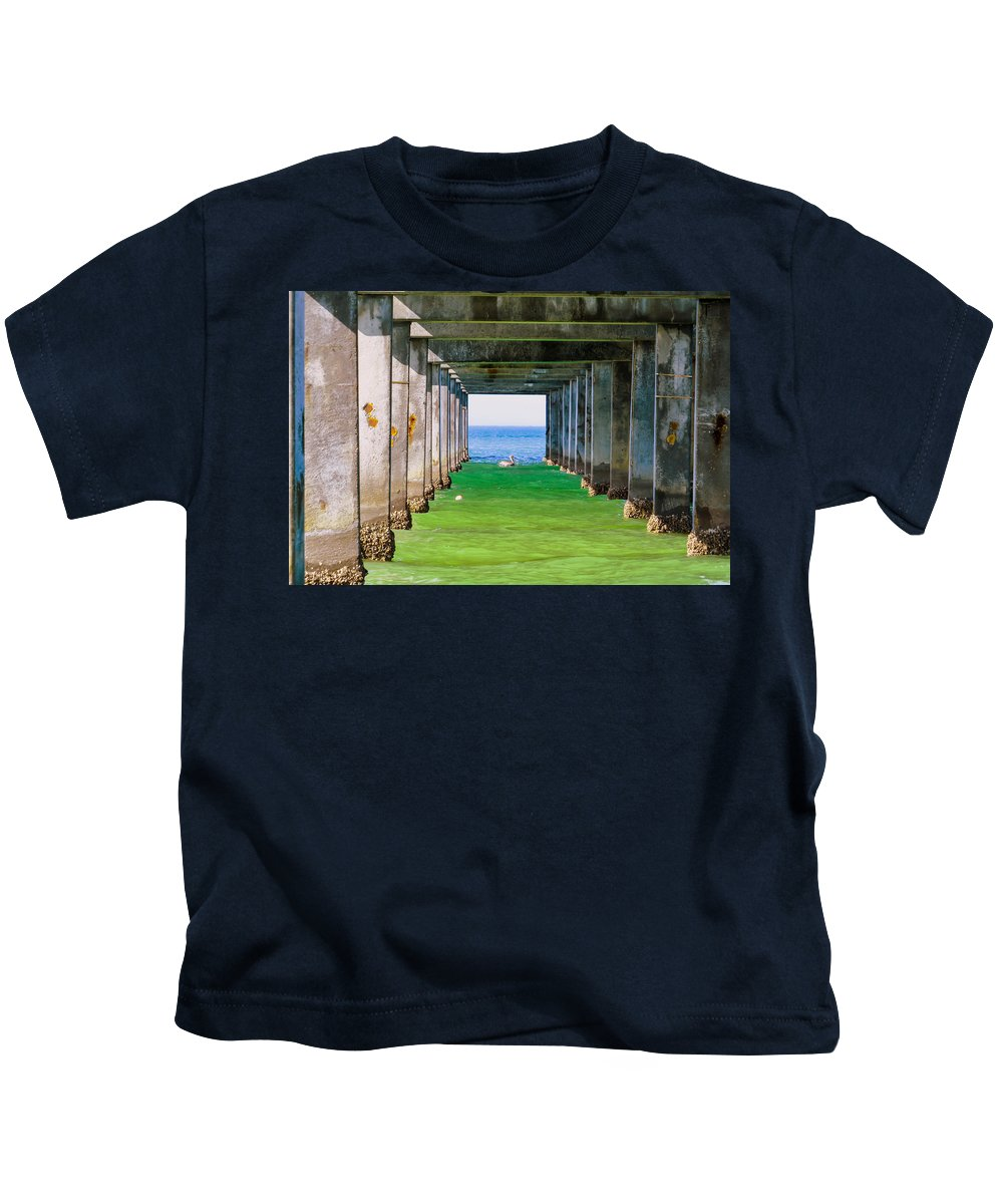 Pier Kids T-Shirt featuring the photograph Under The Pier by Zina Stromberg