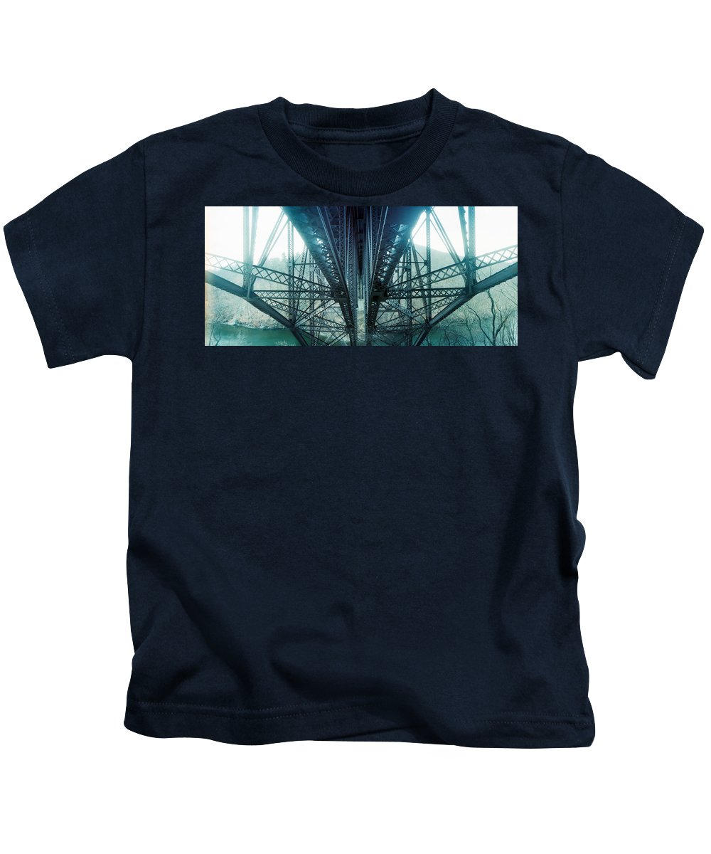 Photography Kids T-Shirt featuring the photograph Underside Of A Bridge, Hudson Valley by Panoramic Images