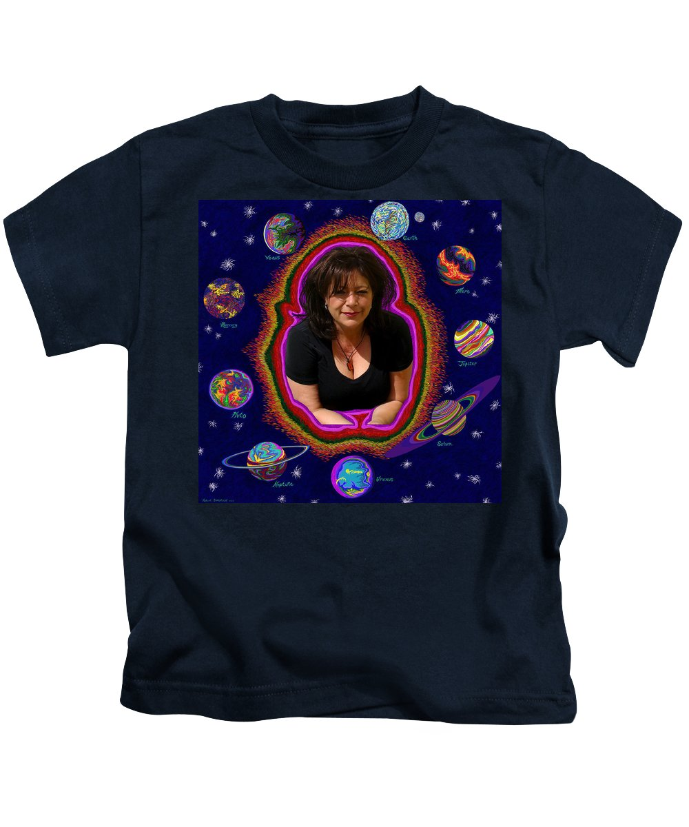 Solar System Kids T-Shirt featuring the painting United Planets Of Mona Robin by Robert SORENSEN
