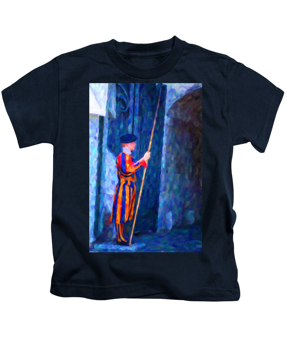 Vatican Kids T-Shirt featuring the painting Vatican Swiss Guard by Hakon Soreide