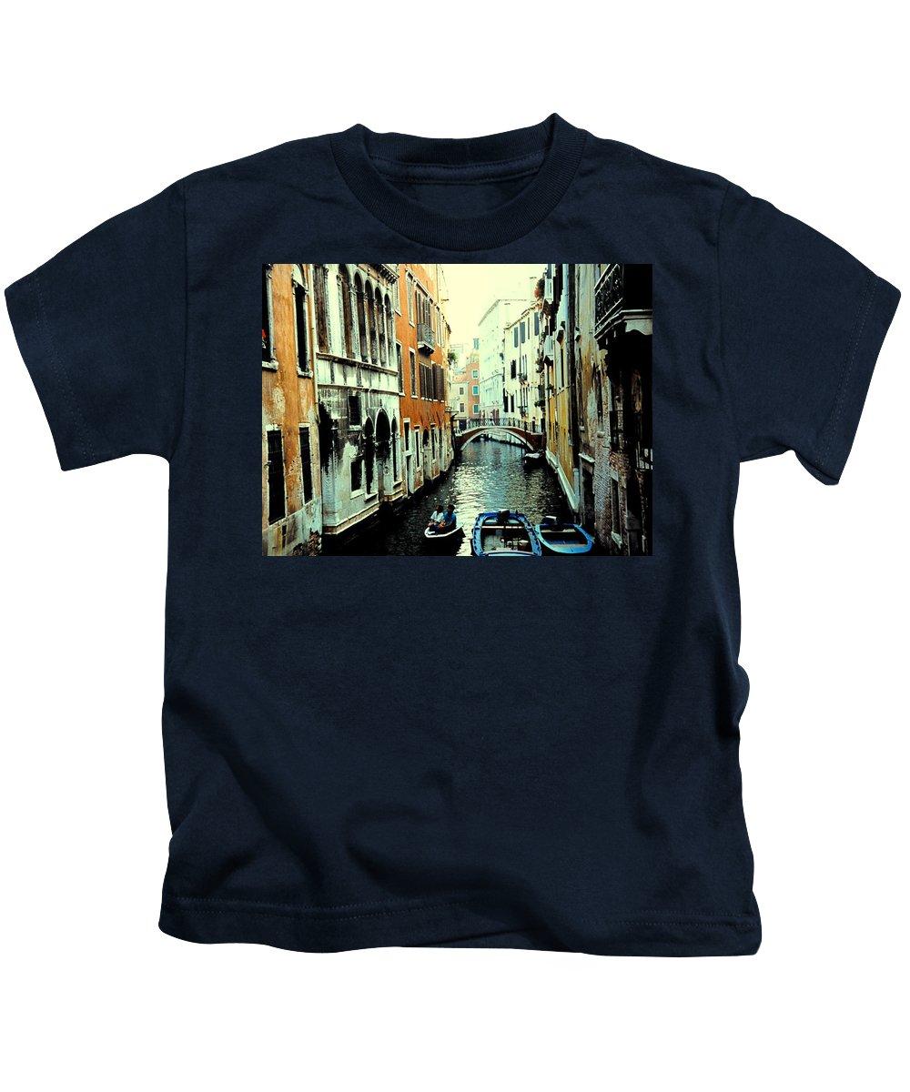 Venice Kids T-Shirt featuring the photograph Venice Street Scene by Ian MacDonald