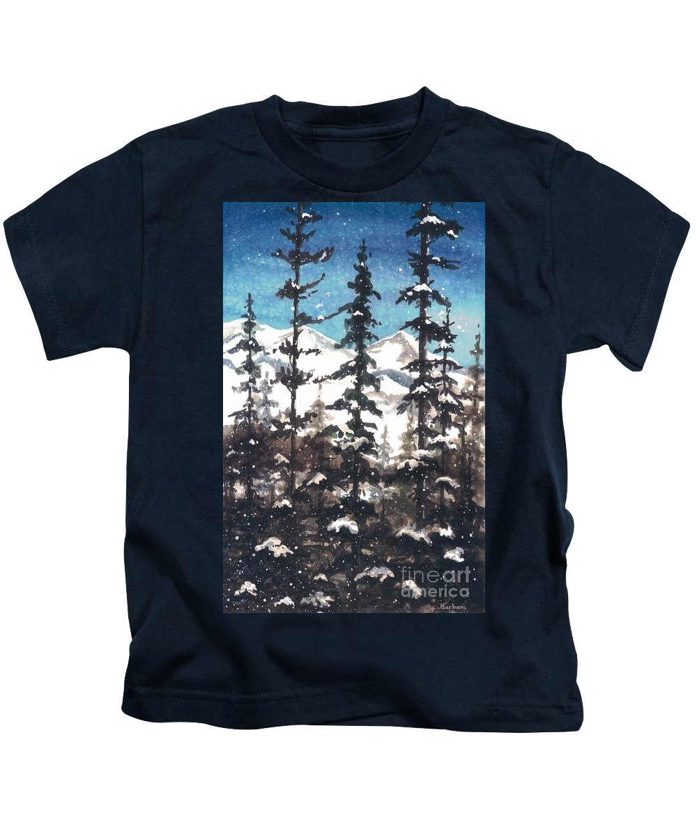 Water Color Paintings Kids T-Shirt featuring the painting View From Twister Lift by Barbara Jewell