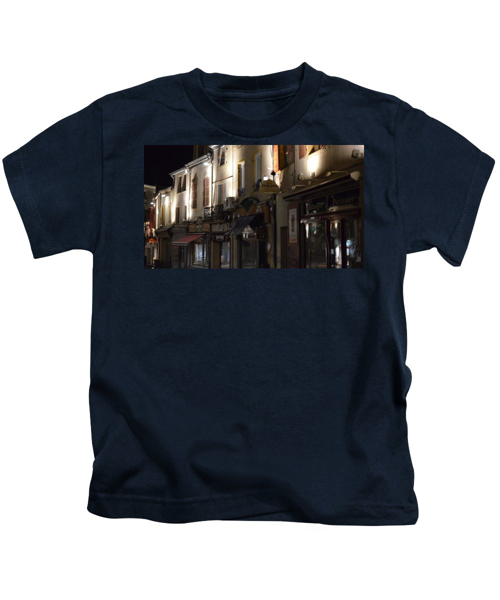 France Kids T-Shirt featuring the photograph Village Nightscape by Cheryl Miller