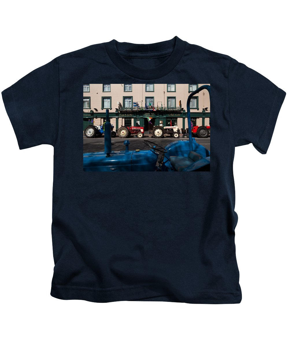 Photography Kids T-Shirt featuring the photograph Vintage Tractors Lined by Panoramic Images