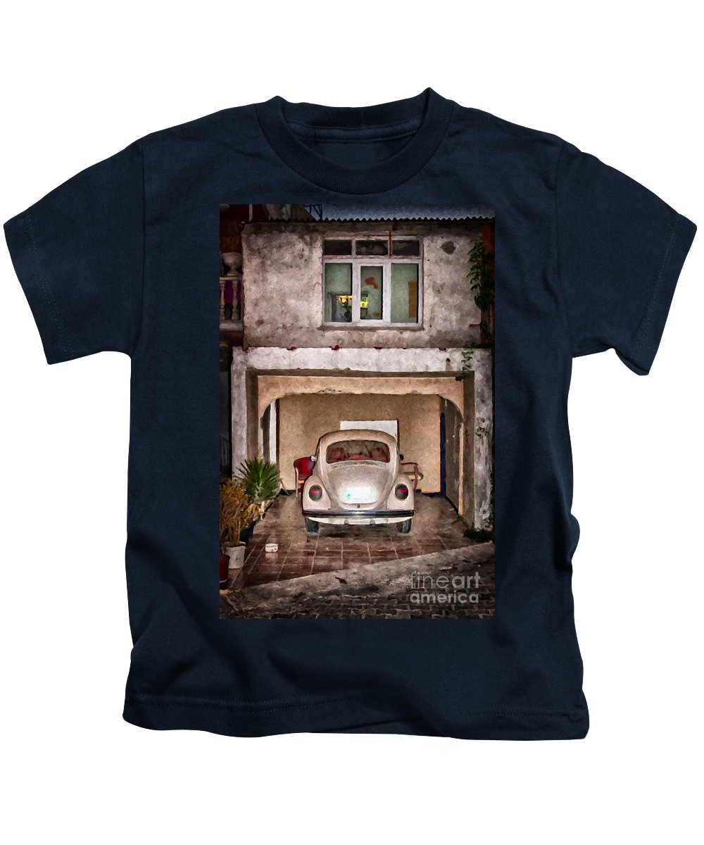 Car Kids T-Shirt featuring the painting Vw Beetle Painting by Antony McAulay