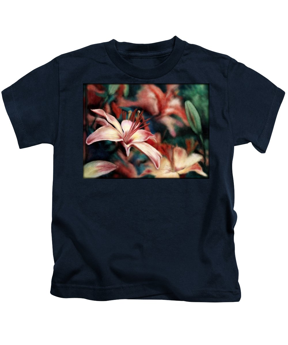 Floral Kids T-Shirt featuring the digital art War And Peace by Mary Eichert