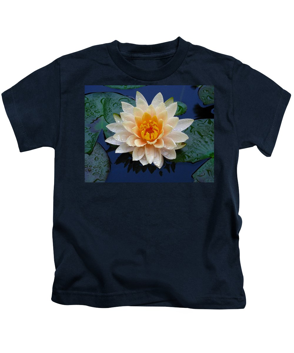 Waterlily Kids T-Shirt featuring the photograph Waterlily After A Shower by Raymond Salani III