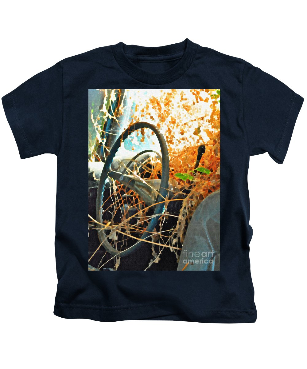 Steering Kids T-Shirt featuring the photograph Weedy Steering by Gwyn Newcombe