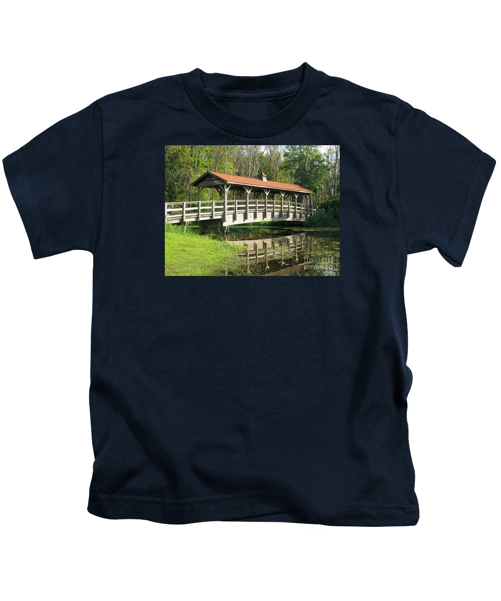 Bridge Kids T-Shirt featuring the photograph Wetland Footbridge by Ann Horn