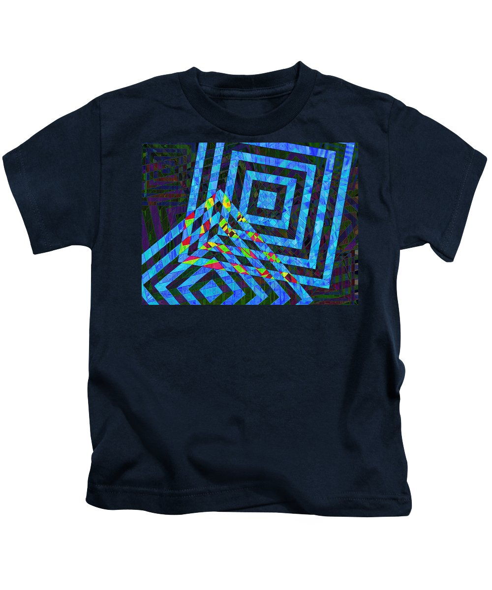 Squares Kids T-Shirt featuring the photograph When Squares Merge Blue by David Pantuso