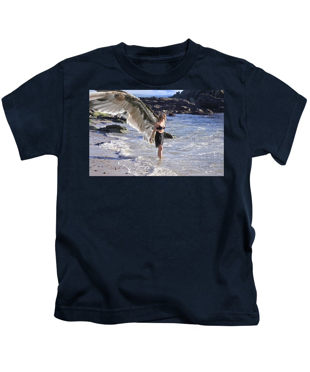 Angels Kids T-Shirt featuring the photograph When You Were Born I Made You Smile by Acropolis De Versailles