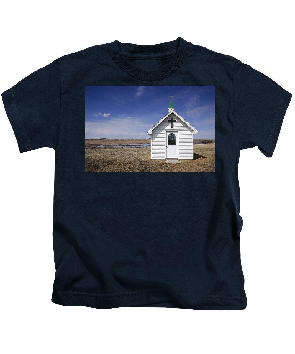 Church Kids T-Shirt featuring the photograph White Church Chapel On Prairie by Donald Erickson