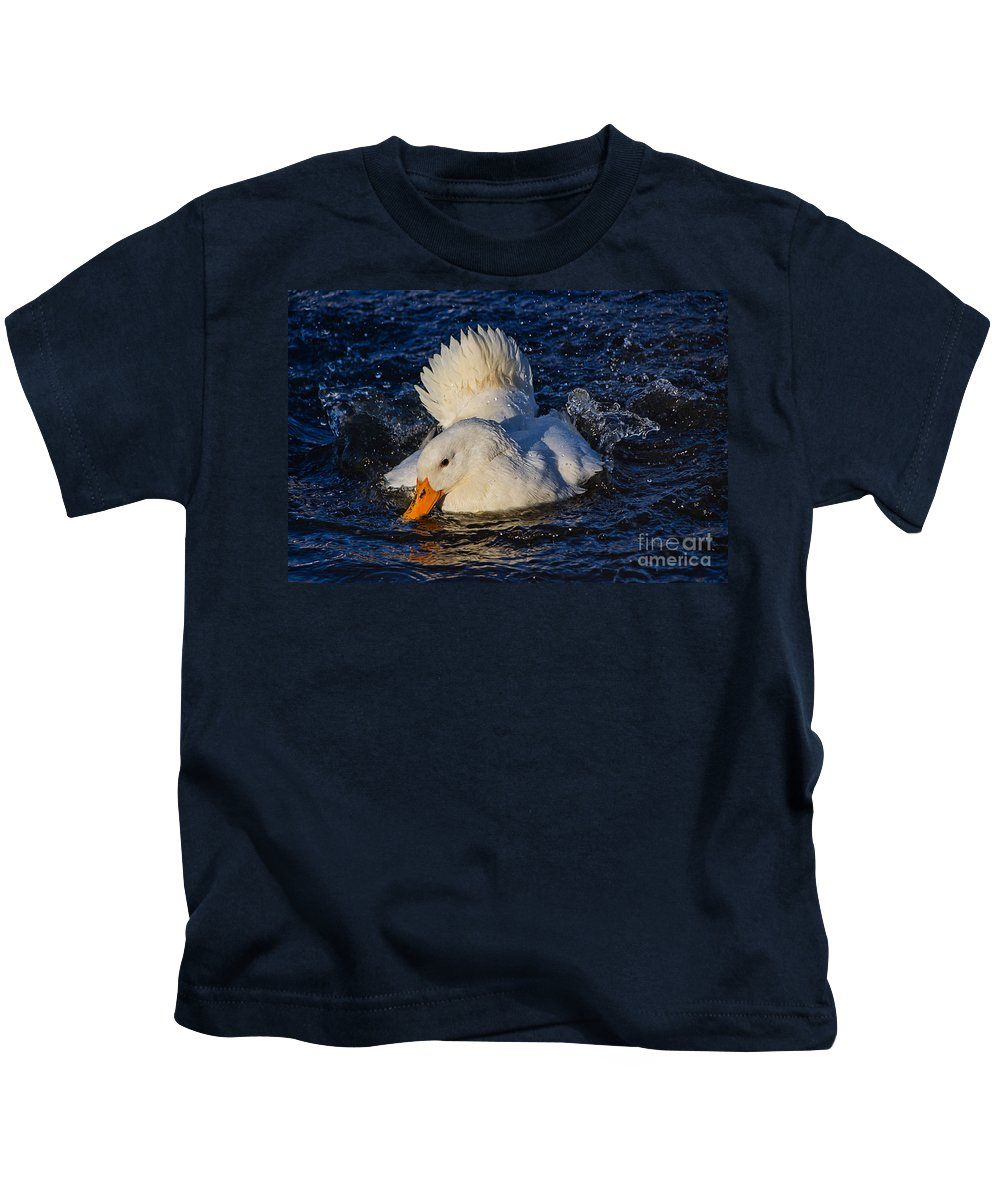 Duck Kids T-Shirt featuring the photograph White Duck 3 by Susie Peek