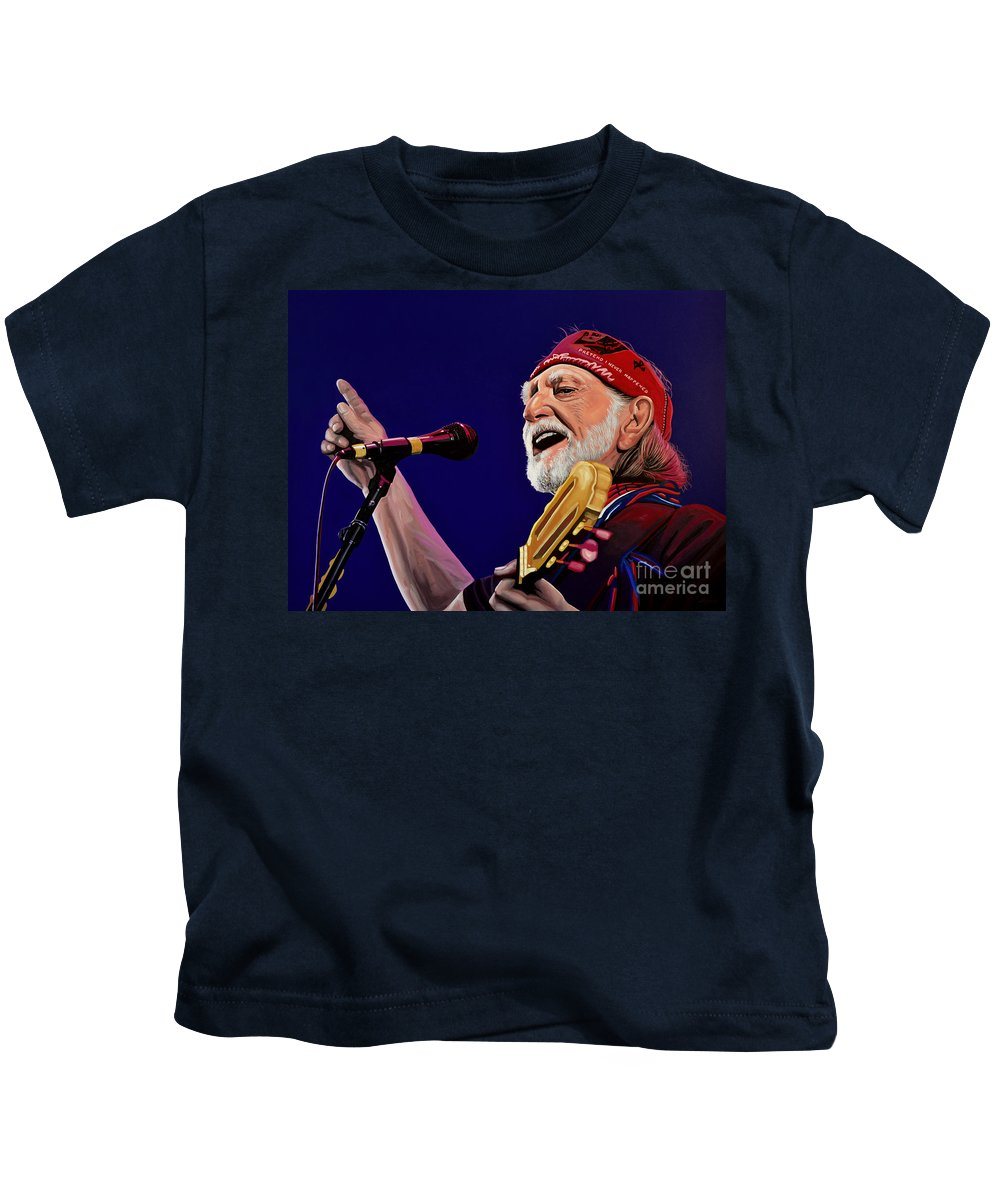 Willie Nelson Kids T-Shirt featuring the painting Willie Nelson by Paul Meijering
