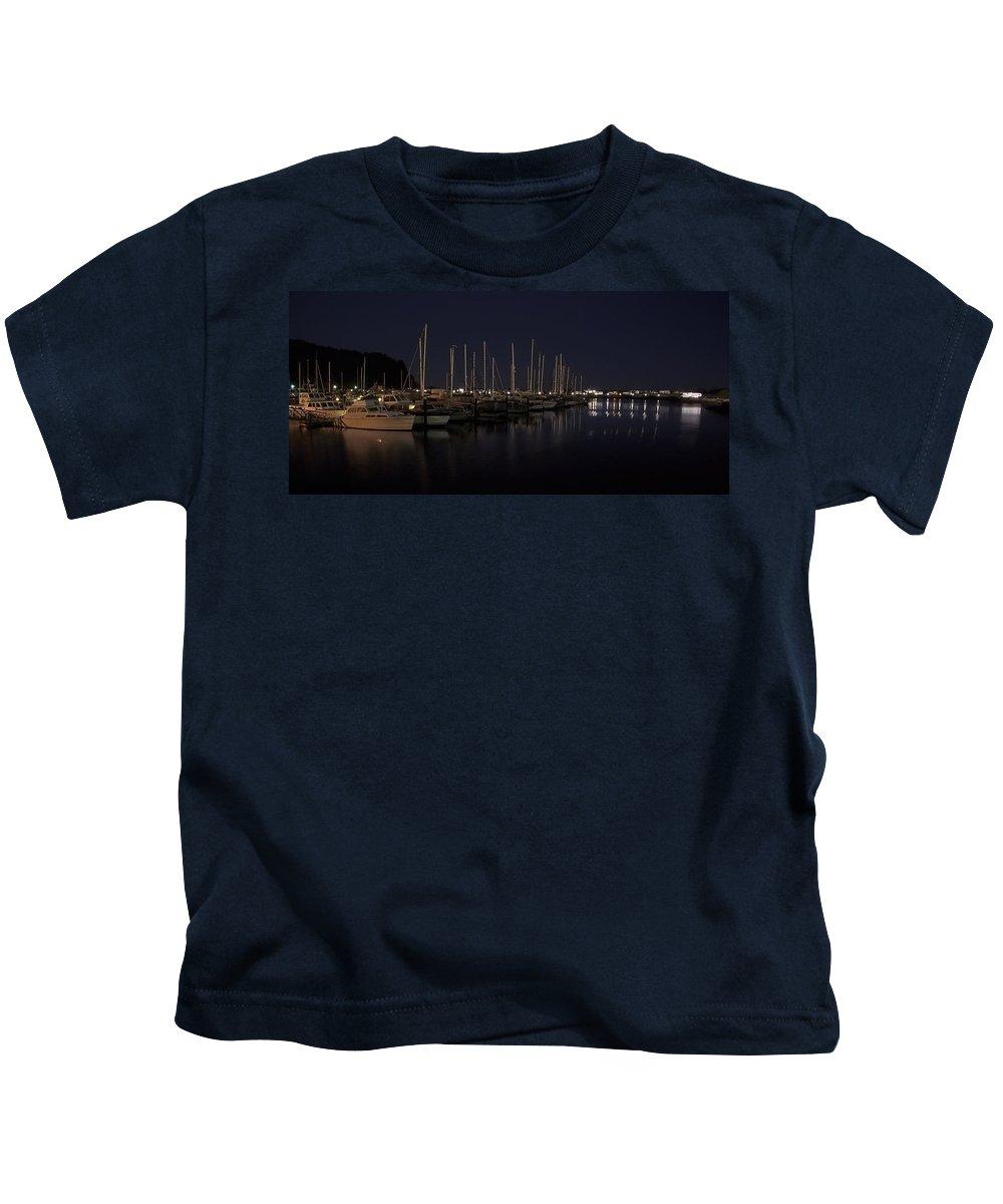 fishing Boats Kids T-Shirt featuring the photograph Winchester Bay Marina - Oregon Coast by Daniel Hagerman