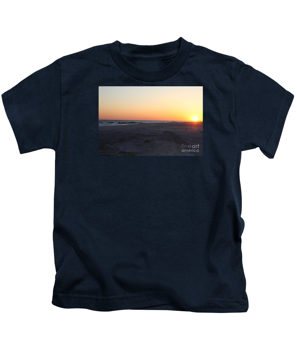 Winter Sunset On Long Beach Kids T-Shirt featuring the photograph Winter Sunset On Long Beach by John Telfer