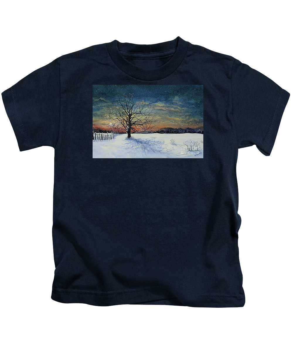 Oak Tree Kids T-Shirt featuring the painting Winters Eve by Mary Palmer