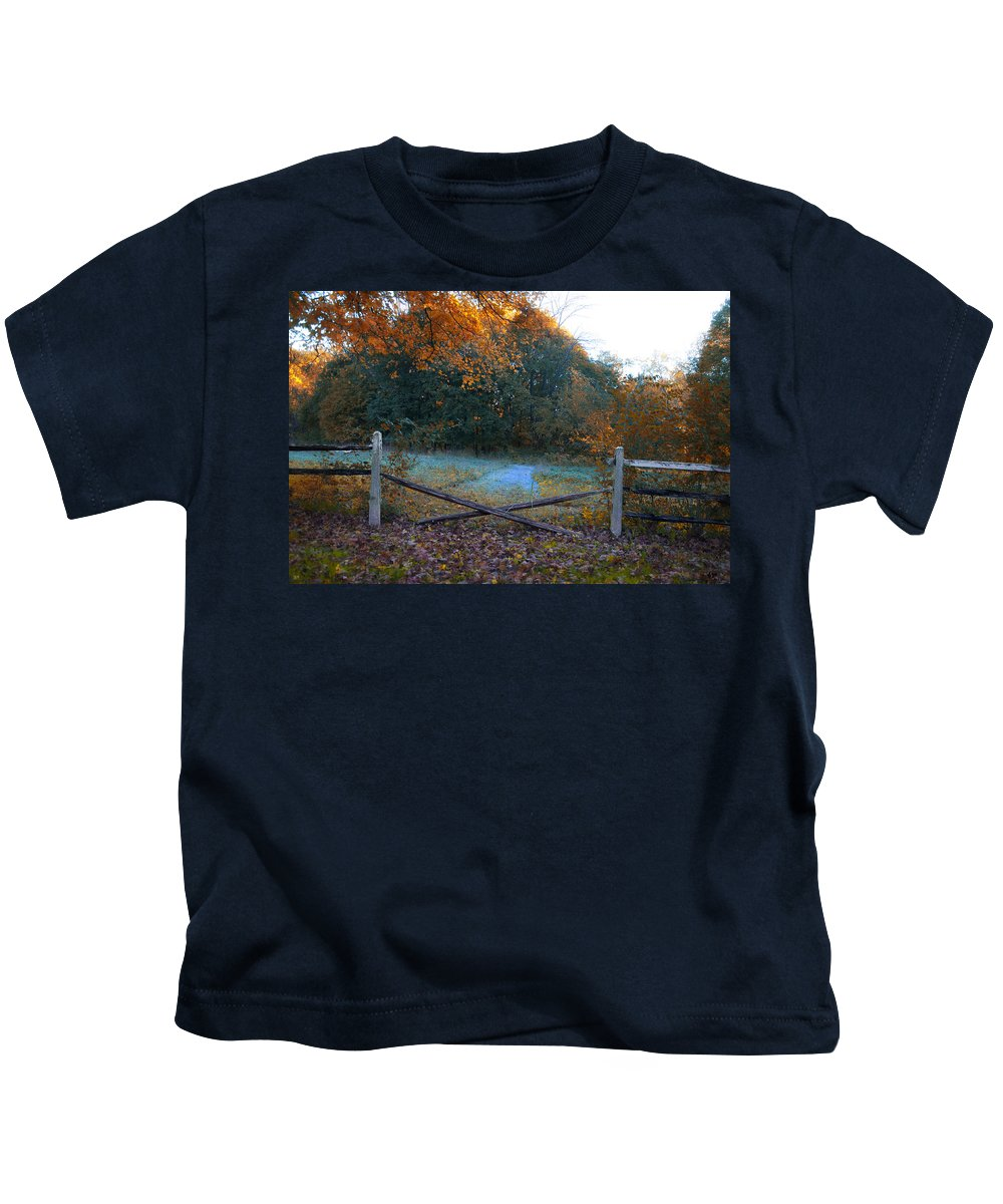 Wooden Kids T-Shirt featuring the photograph Wooden Fence In Autumn by Bill Cannon