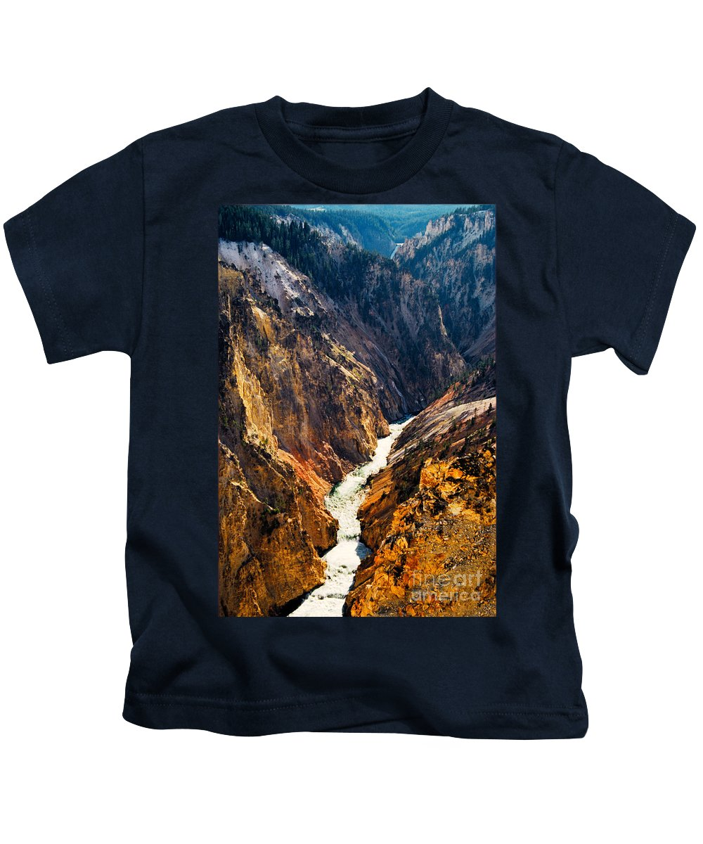 Yellowstone Kids T-Shirt featuring the photograph Yellowstone River by Kathy McClure