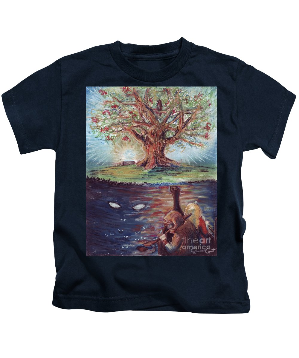 Yggdrasil Kids T-Shirt featuring the pastel Yggdrasil - The Last Refuge by Samantha Geernaert