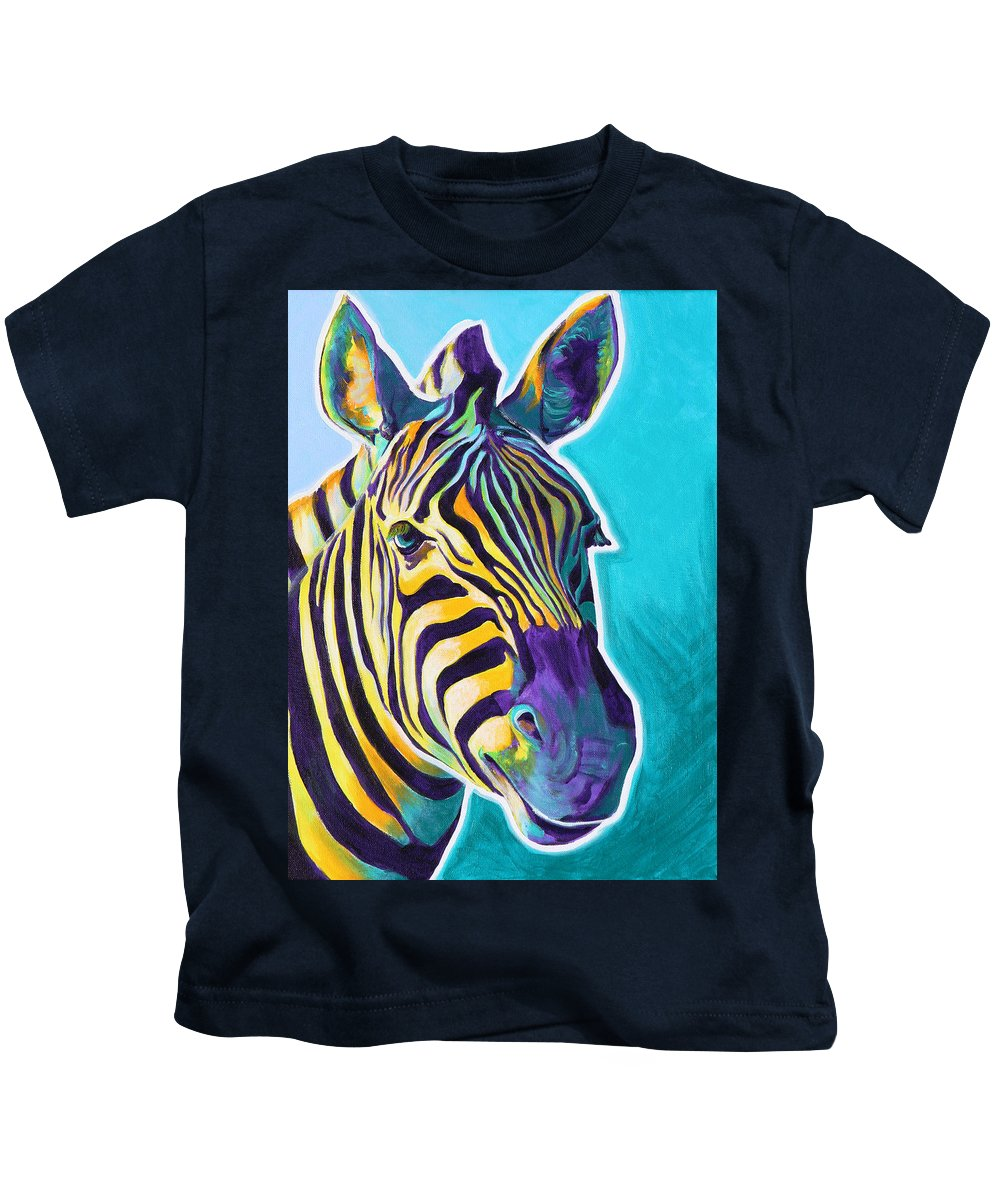 Zebra Kids T-Shirt featuring the painting Zebra - Sunrise by Alicia VanNoy Call
