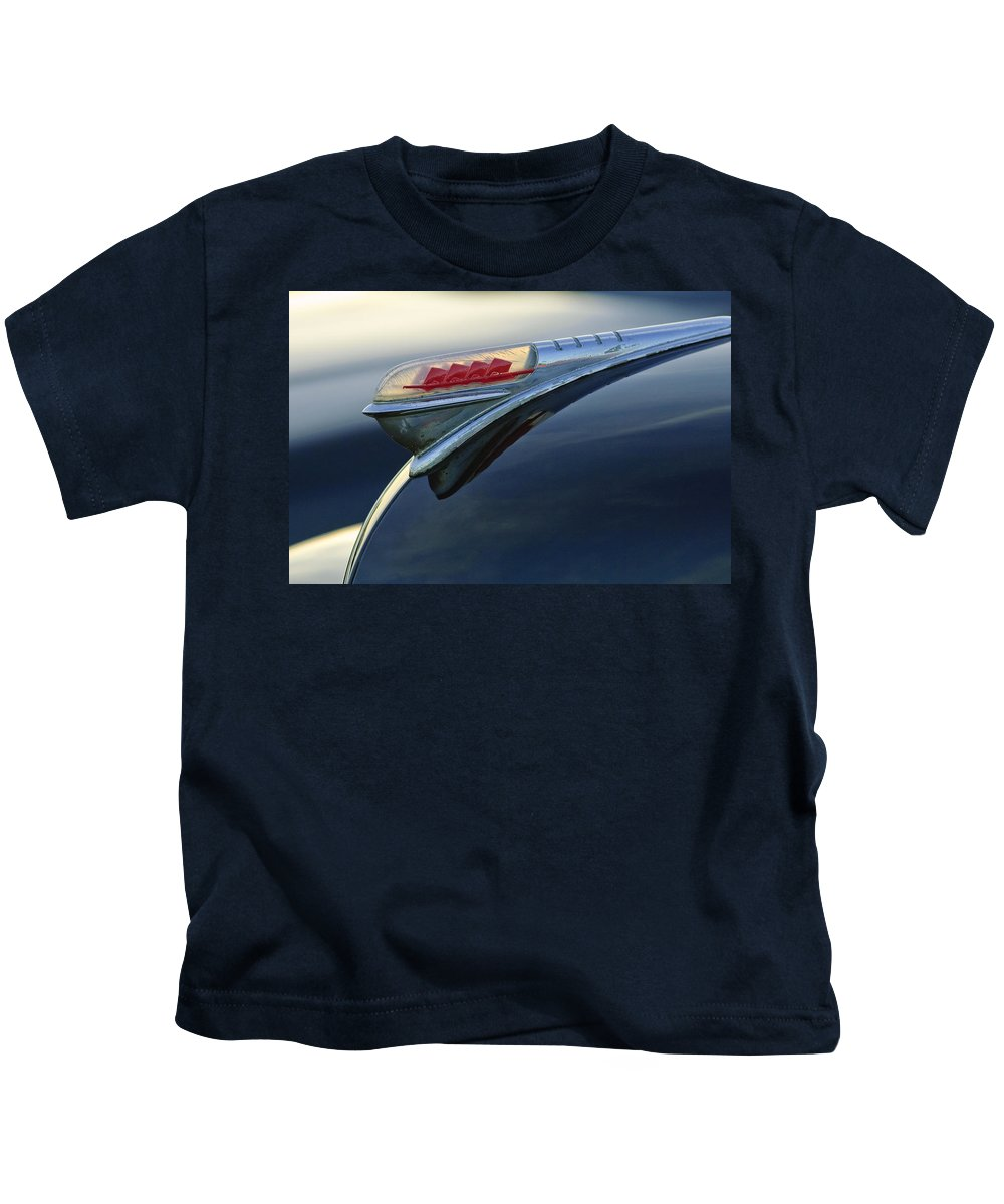 1947 Plymouth Kids T-Shirt featuring the photograph 1947 Plymouth Hood Ornament by Jill Reger