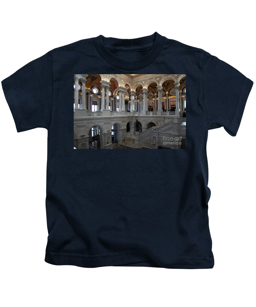 Library Of Congress Kids T-Shirt featuring the photograph Library Of Congress - Washington D C by Christiane Schulze Art And Photography