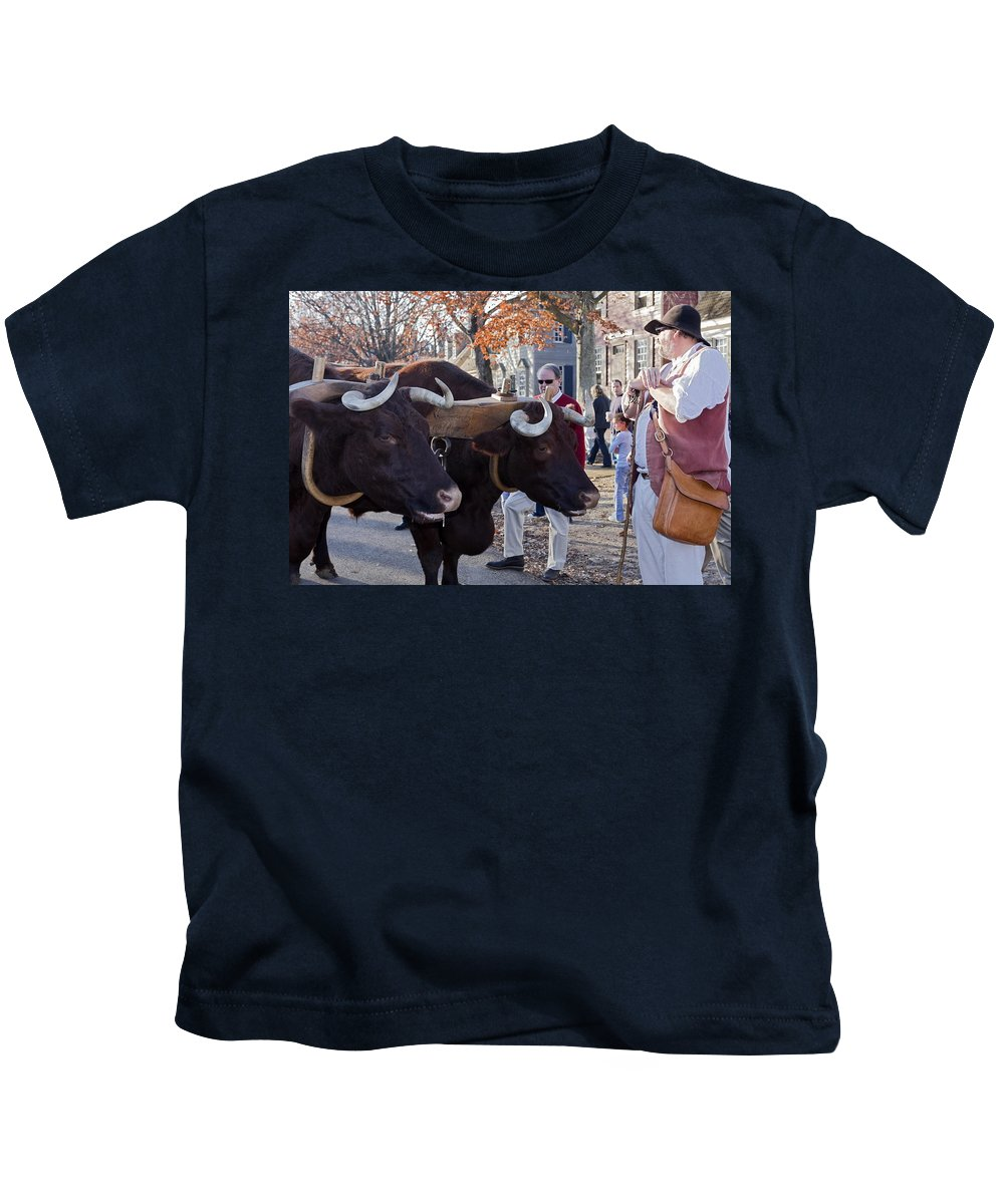 Oxen Kids T-Shirt featuring the photograph Oxen And Handler by Sally Weigand