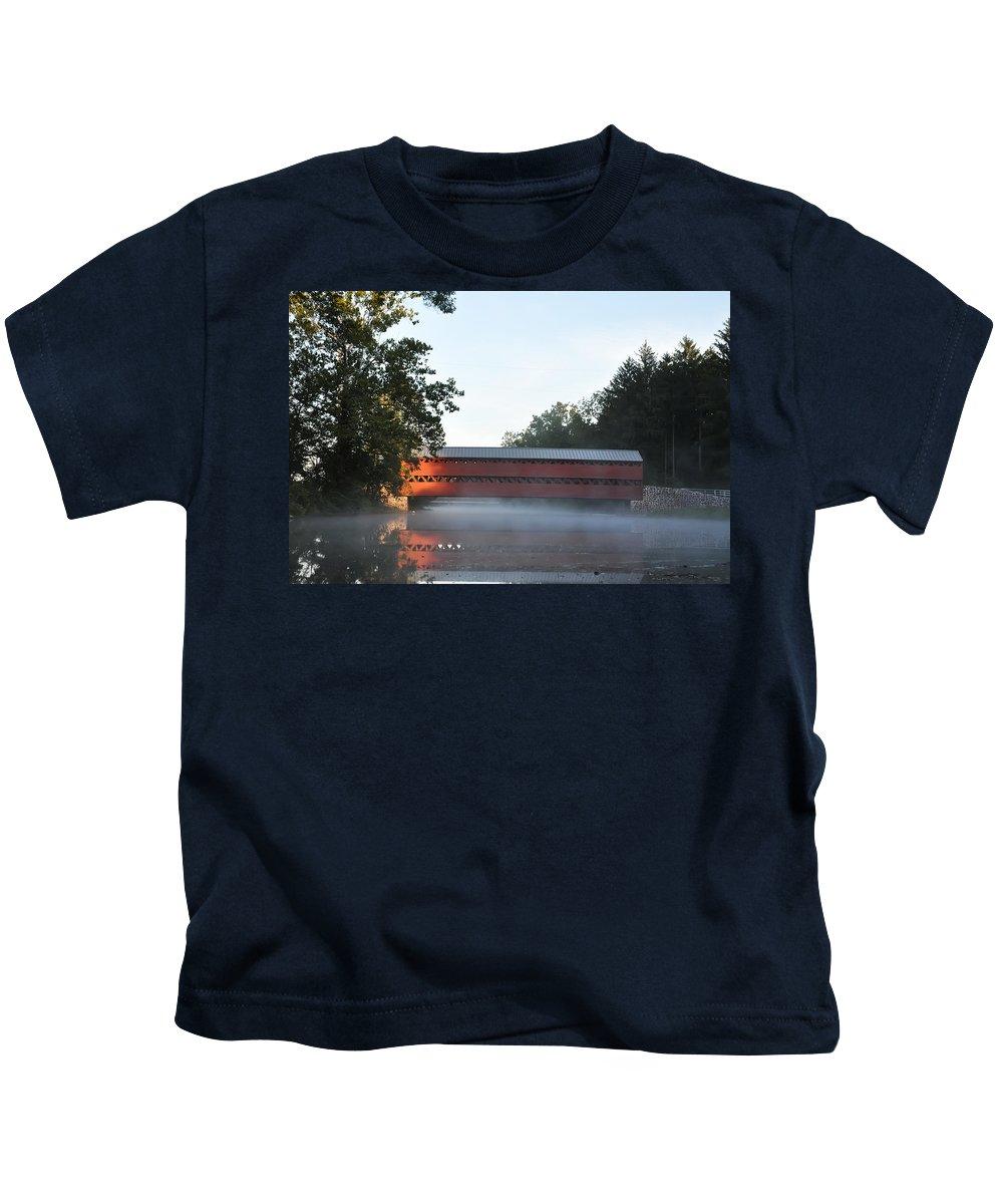 Sachs Covered Bridge Near Gettysburg Kids T-Shirt featuring the photograph Sachs Covered Bridge Near Gettysburg by Bill Cannon