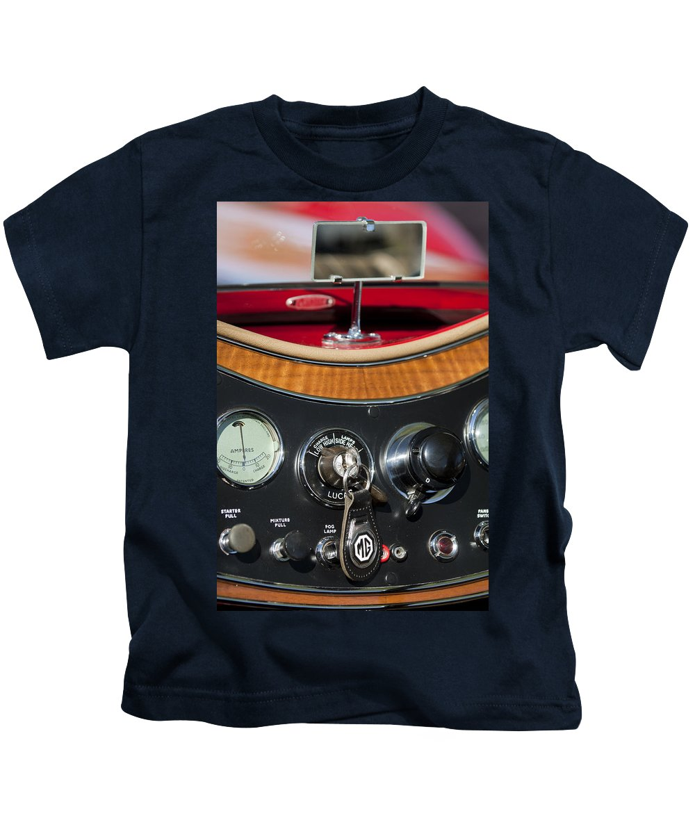 1938 Mg Ta Kids T-Shirt featuring the photograph 1938 Mg Ta Dashboard by Jill Reger