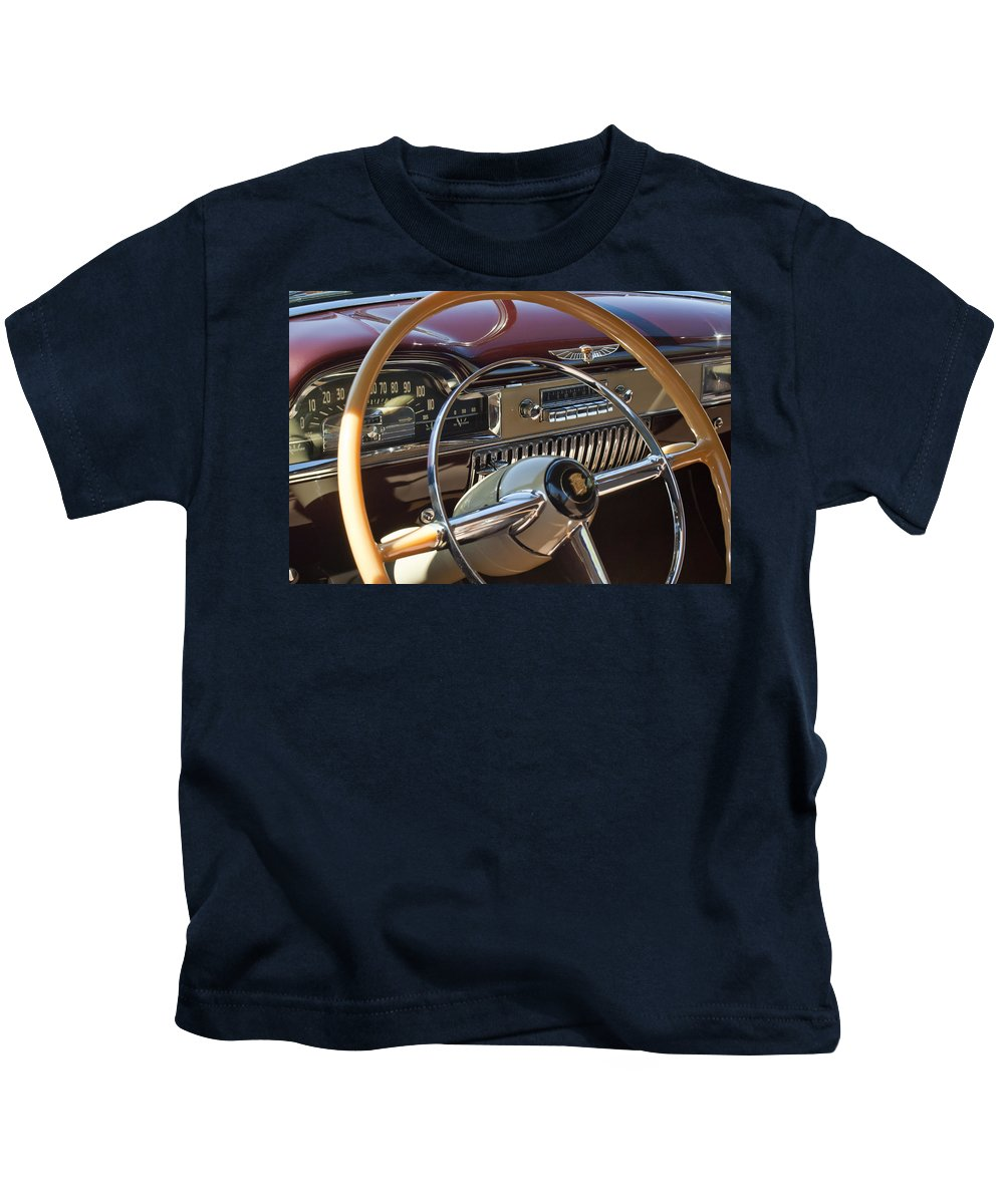 1949 Cadillac Sedanette Kids T-Shirt featuring the photograph 1949 Cadillac Sedanette Steering Wheel by Jill Reger
