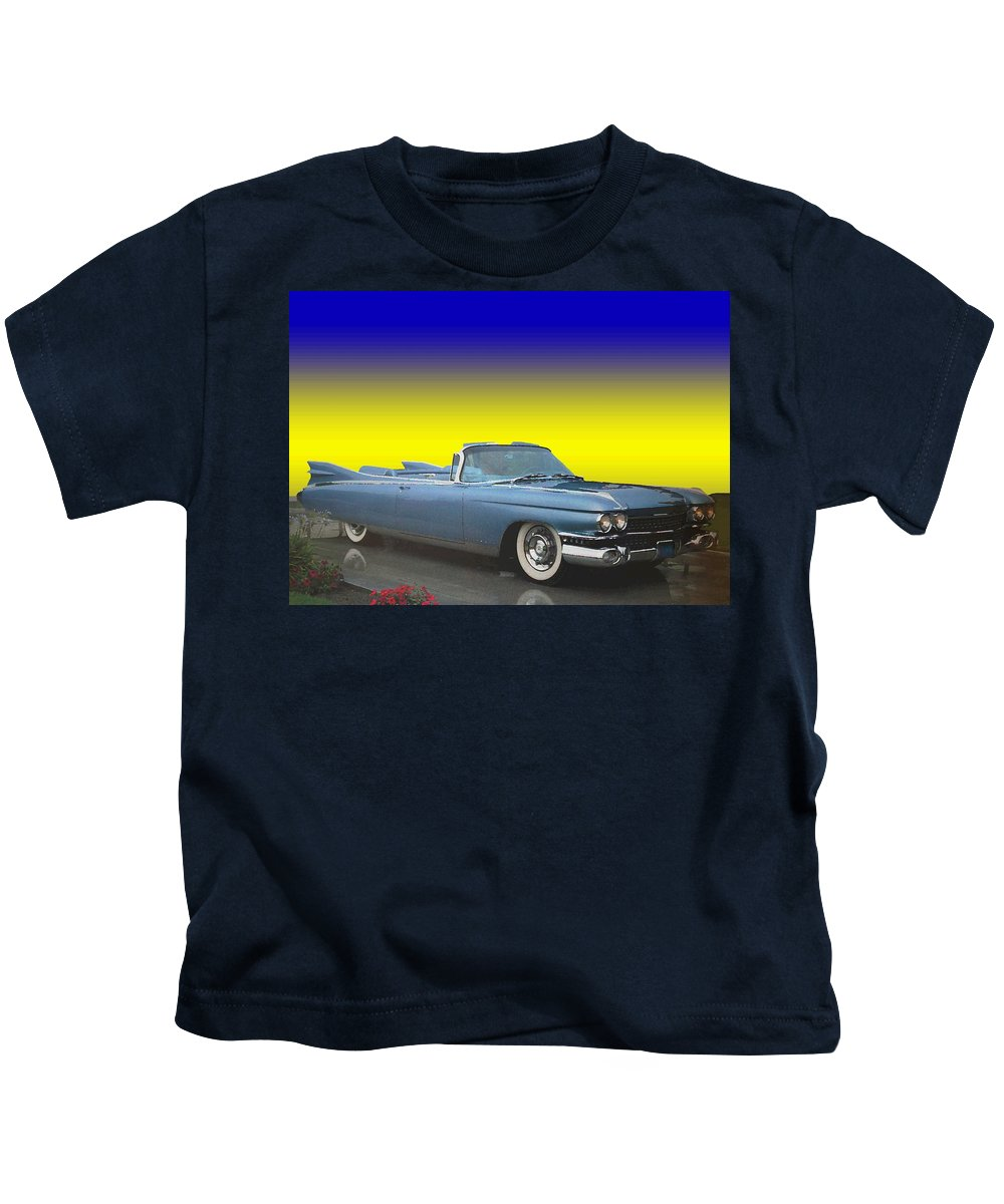 1959 Kids T-Shirt featuring the photograph 1959 Cadillac Convertible Eldorado Biarritz by One Rude Dawg Orcutt