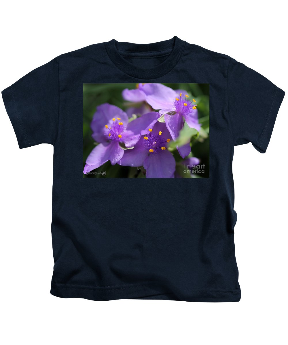 Tradescantia Kids T-Shirt featuring the photograph Tradescantia Named Andersonia Mauve by J McCombie