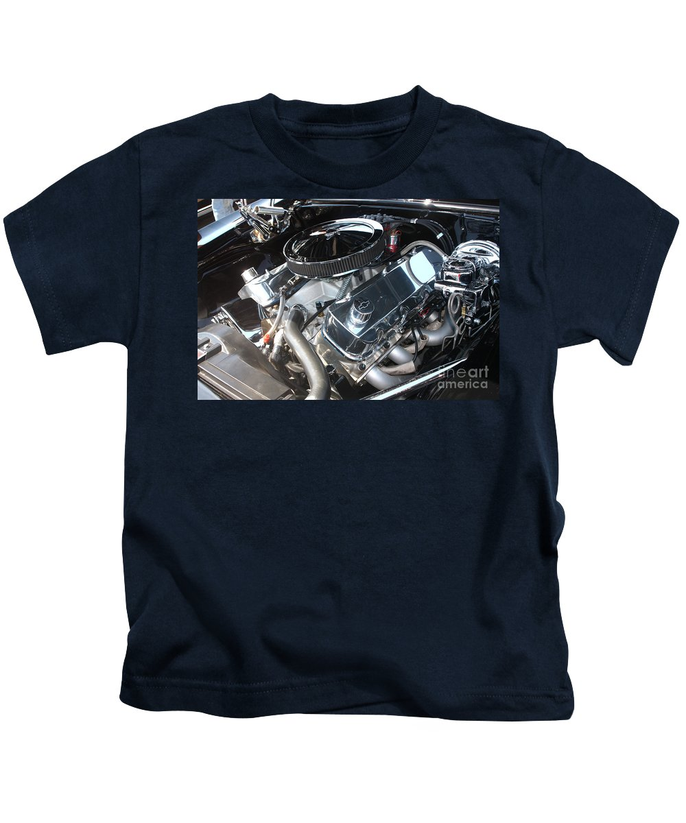 1967 Kids T-Shirt featuring the photograph 67 Black Camaro Ss 396 Engine-8033 by Gary Gingrich Galleries